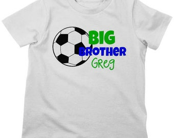 eb16dc31eec Little Brother Soccer Shirt or Bodysuit Personalized Sibling | Etsy