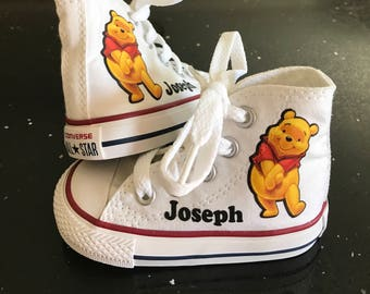 Winnie the Pooh Shoes - Custom Kid Converse Shoes - Custom Personalized  High Top Converse Shoes 06356a6b6