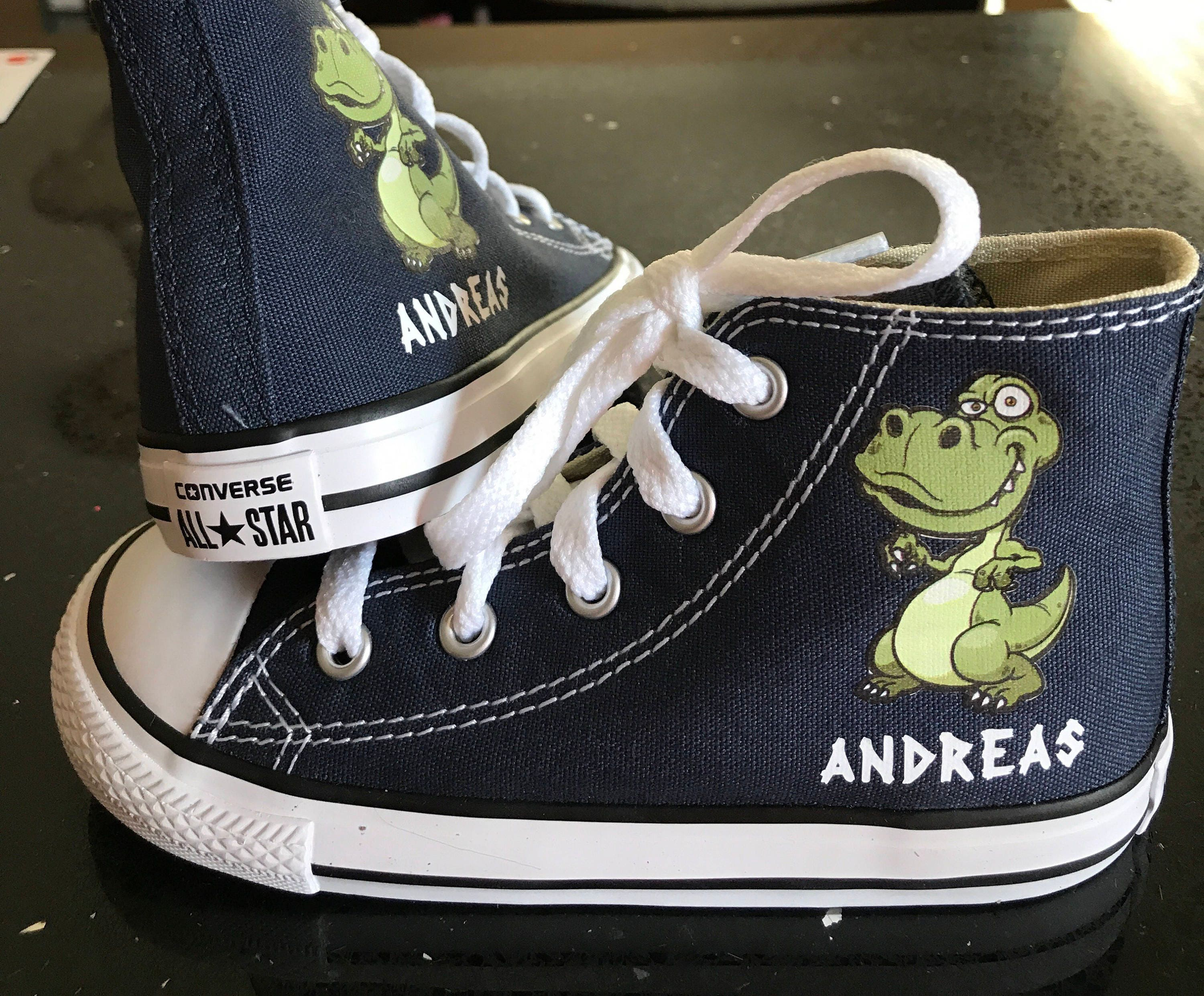 fa447ad5ec7ac5 ... clearance dinosaur shoes t rex shoes custom kid converse shoes custom  personalized high top converse shoes ...