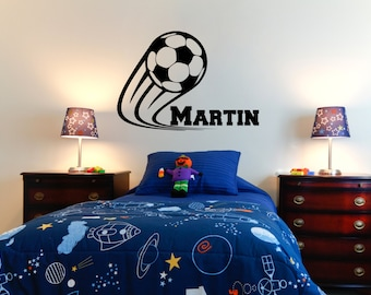 """Soccer Wall Decal with Athletic Font Personalized Name - 23"""" wide x 16"""" tall"""