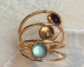 Mothers ring, birthstones ring, mothers ring, stacking rings, Gold filled ring,  personalised ring, family gemstones ring - Bonded R2551