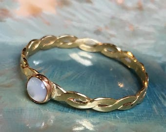 Moonstone ring, June birthstone ring, Gold ring, brass ring, stacking ring, skinny ring, dainty ring, gemstone ring - On The moon R2505