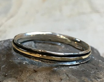 Skinny spinner Ring, Stacking Ring, wedding band, Minimal ring, Silver gold Ring, Stackable Ring, midi ring, dainty ring - Lucky Star R2462
