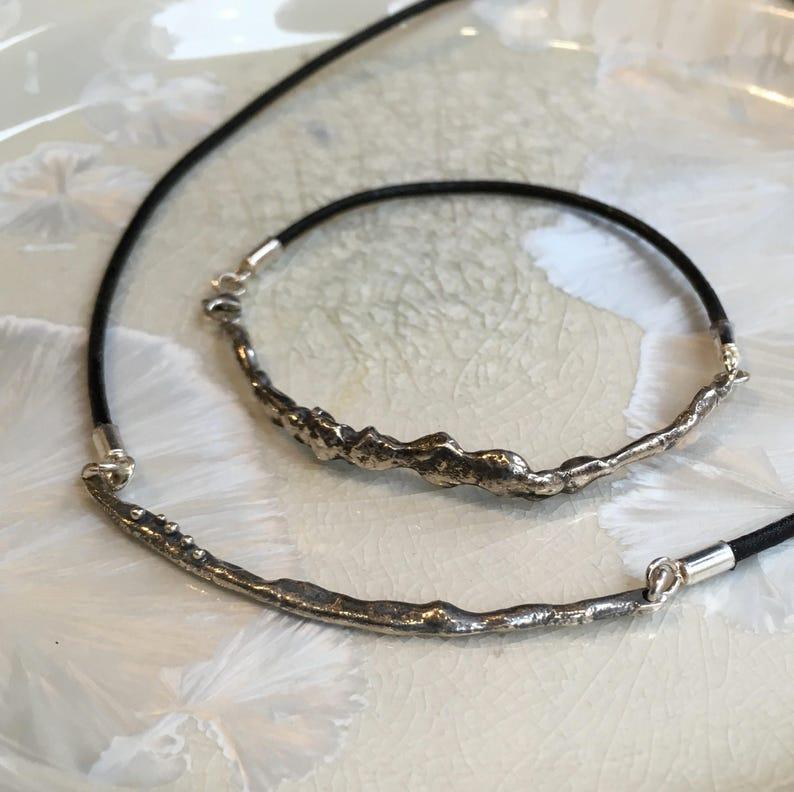 leather string bracelet Layering bracelet Minimalist bracelet sterling silver bracelet simple bracelet bar bracelet My reality B3028