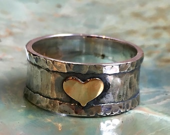 Promise Silver Ring, bff heart ring, Gold heart Ring, two tones Ring, oxidised ring, valentines ring, wide Ring, thumb ring - A heart R2513