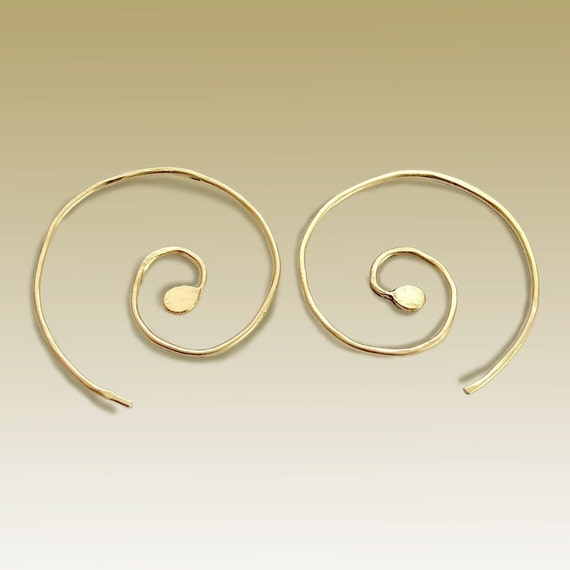 Free Shipping Minimalist Gold Filled Spiral Earrings Big Modern Light Earrings Gold Filled Jewelry Handmade Contemporary Spiral Earrings