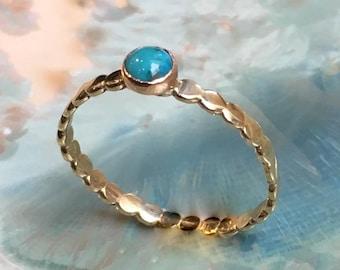 December birthstone ring, Gold ring, Turquoise ring, skinny ring, dainty ring, brass ring, stacking ring, gemstone ring - Wake Up Call R2504