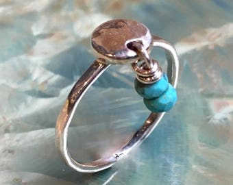 Turquoises ring, December birthstone ring, mothers ring, stacking ring, personalised ring, family stones ring, dainty - True Colors R2498