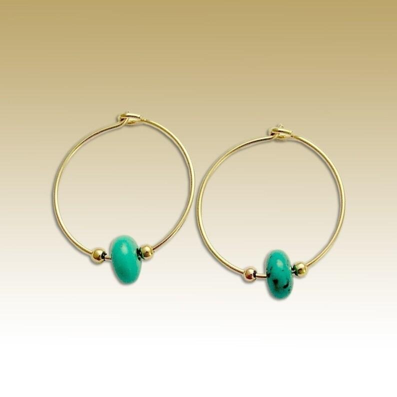 70cc7b122f690 Gold turquoise Earrings, Hoop Earrings, dainty Gold Hoops, minimal  Earrings, beaded earrings, basic hoops, casual hoops - Whisper E90000