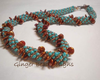 SALE - Lentil Bead Turquoise and Copper Russian Spiral Necklace