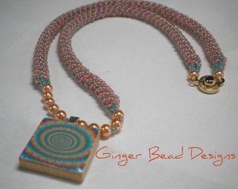 SALE  - Beaded Scrabble Tile Necklace
