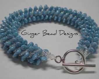 Ocean Blue Drop Bead Spiral Bracelet