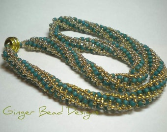 SALE - Turquoise and Gold Spiral Rope Necklace