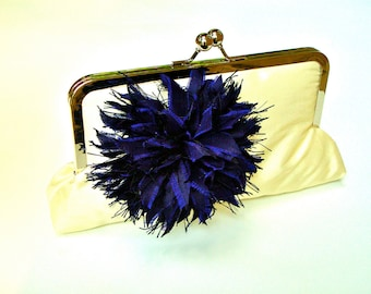 Rory Clutch, Handbag,bridesmaids gift  Lined in Navy Dupioni Silk