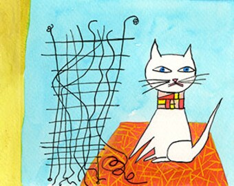 Paul Klee's cats.  Original watercolor by Vivienne Strauss.