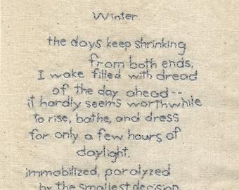 Winter. An original stitched poem by Vivienne Strauss.
