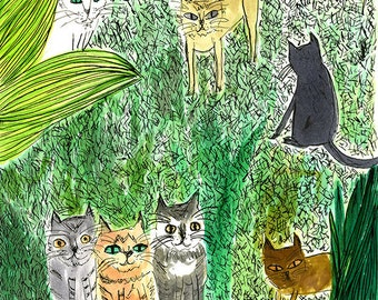 Yard cats. Limited edition print by Vivienne Strauss