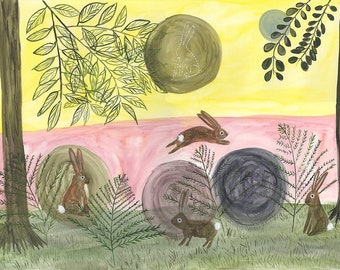 Rabbit Moon. Original watercolor painting by Vivienne Strauss.