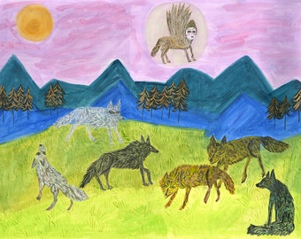 The Patron Saint of Wolves. Original watercolor painting by Vivienne Strauss.