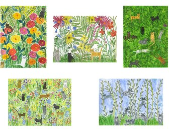 Cats in the garden note cards - art by Vivienne Strauss.