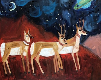 On a clear night, antelope can see the rings of Saturn. Original oil painting by Vivienne Strauss.