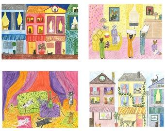 Cat Life note card set - art by Vivienne Strauss.