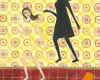 Yellow Wallpaper. Original watercolor painting by Vivienne Strauss.