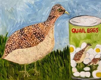 Quail Eggs. Original oil painting by Vivienne Strauss.
