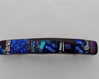 Dichroic Glass non-skid Barrettes Genuine French clasp. medium
