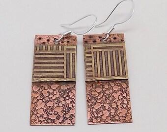 Mixed metal steampunk jewelry brass earrings