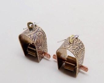 Mixed metal jewelry .copper  earrings