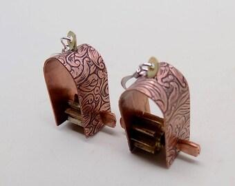 Mixed metal  steampunk jewelry earrings