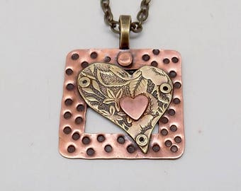Mixed metal jewelry pendant necklace. Steampunk jewelry pendant.