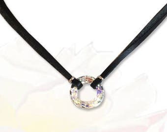 Crystal O Ring Submissive Collar BDSM Slave Collar Black Leather Collar BDSM Jewelry