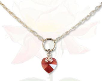 BDSM Collar Sweetheart Red Submissive Collar BDSM Slave Collar Crystal Heart Collar BDSM Jewelry