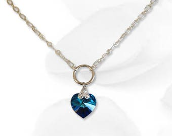 BDSM Collar Sweetheart Blue Submissive Collar BDSM Slave Collar Crystal Heart Collar BDSM Jewelry
