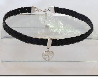 Black Leather Sterling Heart BDSM Collar Choker BDSM Collar Submissive BDSM Daytime Slave Collar bdsm Jewelry
