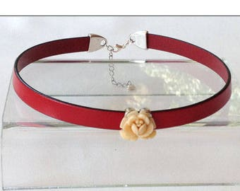 Vintage Rose Red Leather BDSM Collar Choker Submissive Collar BDSM Daytime Slave Collar BDSM Jewelry