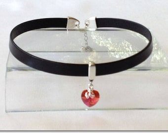 My Heart BDSM Collar Choker Black with Red Crystal Leather Collar Choker Submissive BDSM Daytime Slave Collar BDSM Jewelry