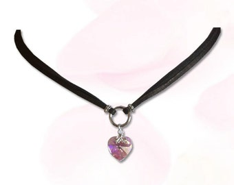 My Heart Submissive BDSM Collar BDSM Slave Collar Pink Heart Black Leather Cord  Collar BDSM Jewelry