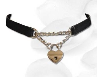 BDSM Collar Bound to my Heart Discreet Lock BDSM Collar Submissive BDSM Daytime Slave Collar bdsm Jewelry Black