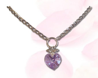 Heart of a Submissive Crystal Submissive Collar BDSM Slave Collar Violet Purple Collar BDSM Jewelry