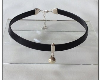 Kitten Sterling Bell Black Leather Collar Choker BDSM Collar Submissive BDSM Daytime Slave Collar BDSM Jewelry