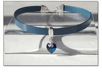 My Heart BDSM Collar Choker Blue Crystal Leather Collar Choker Submissive BDSM Daytime Slave Collar BDSM Jewelry