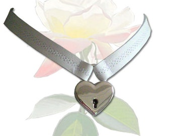 Locked With Love BDSM Collar Leather Submissive BDSM Daytime Slave Collar White BDSM Jewelry