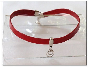 Owned Sterling Circle in a Circle Red Leather Collar Choker BDSM Collar Submissive BDSM Daytime Slave Collar BDSM Jewelry