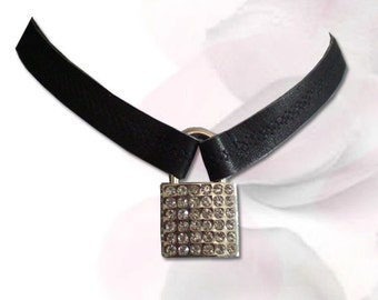 Locked With Love Crystal Lock BDSM Jewelry Collar Leather Submissive BDSM Daytime Slave Collar