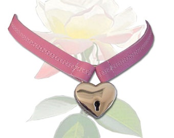 Locked With Love BDSM Collar Leather Submissive BDSM Daytime Slave Collar Light Pink BDSM Jewelry