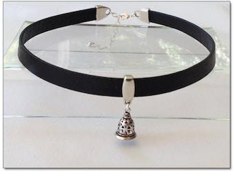 Slave Bell Black Leather Collar Choker BDSM Collar Submissive BDSM Daytime Slave Collar BDSM Jewelry