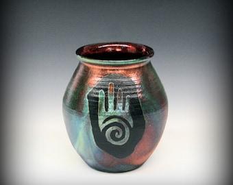 Raku Pot with Spiral Hand Design